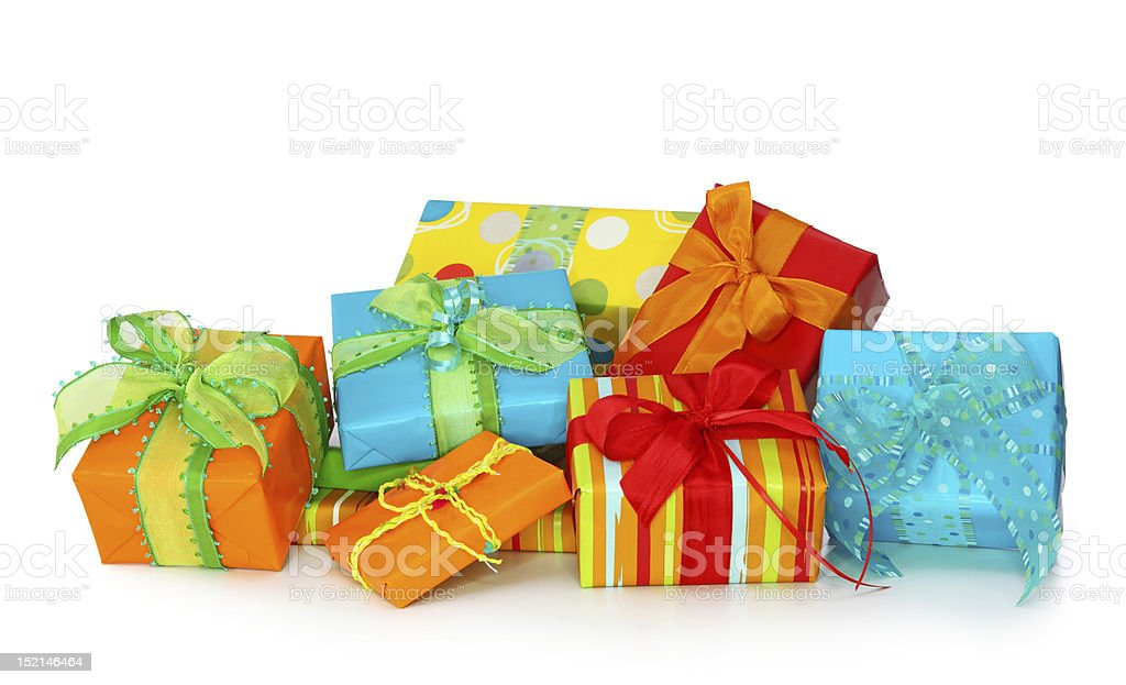 Multiple gift boxes wrapped in bright colored wrapping  royalty-free stock photo