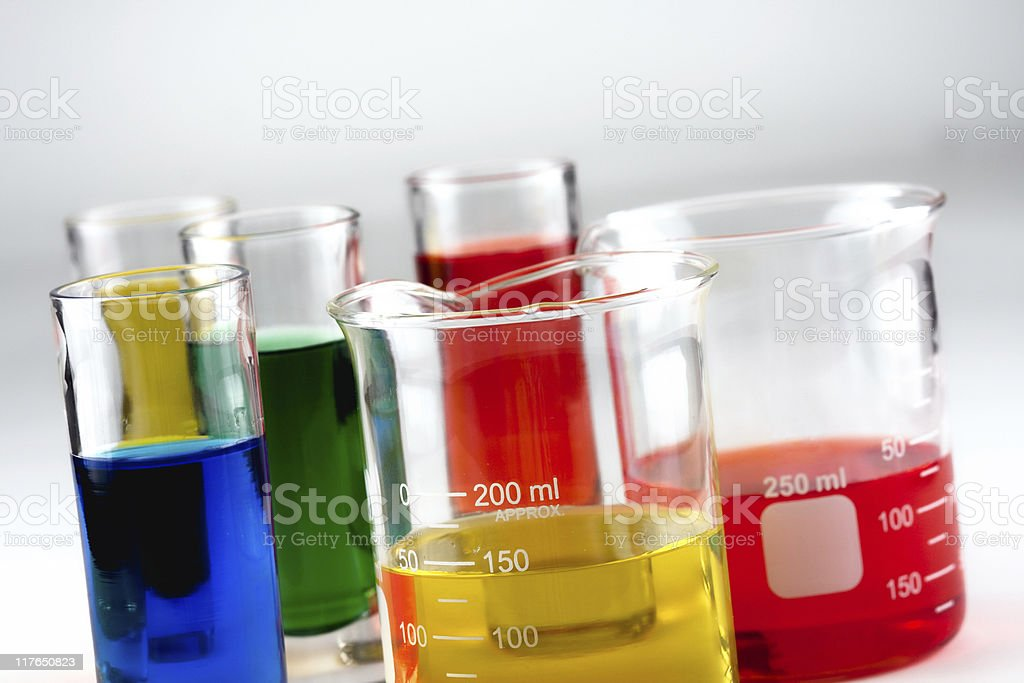 Multiple glass beakers royalty-free stock photo