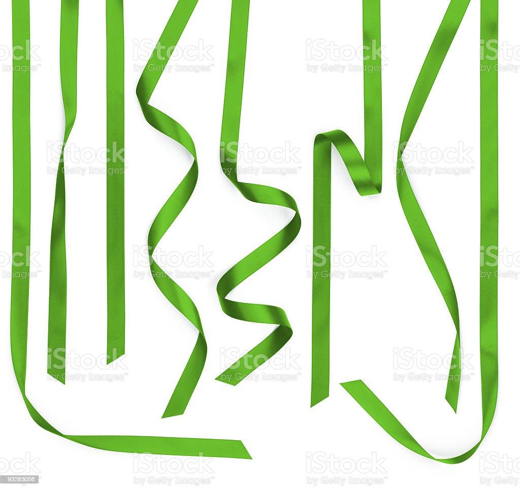 Multiple Green Satin Ribbon Strips Isolated on White stock photo