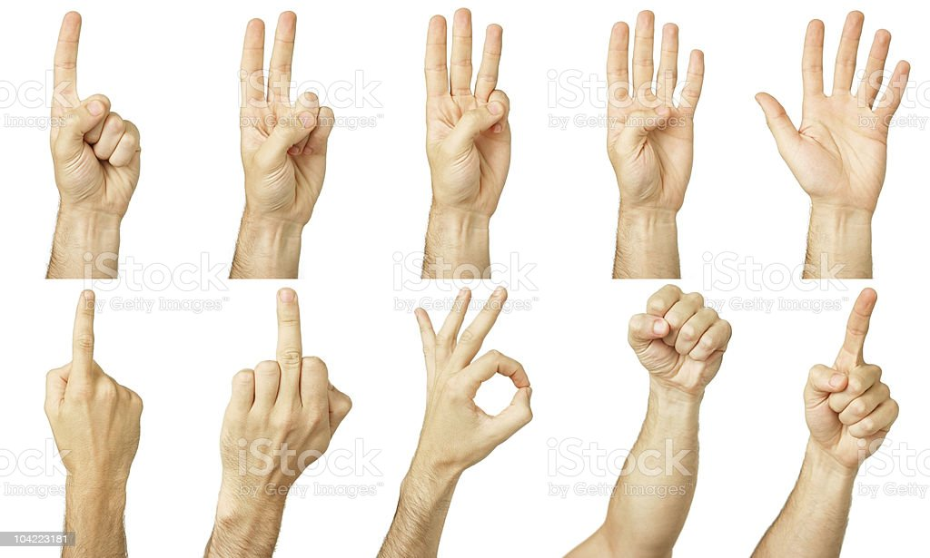 Multiple hand gestures isolated on white stock photo