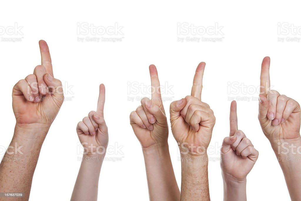 Multiple hands pointing up on white royalty-free stock photo