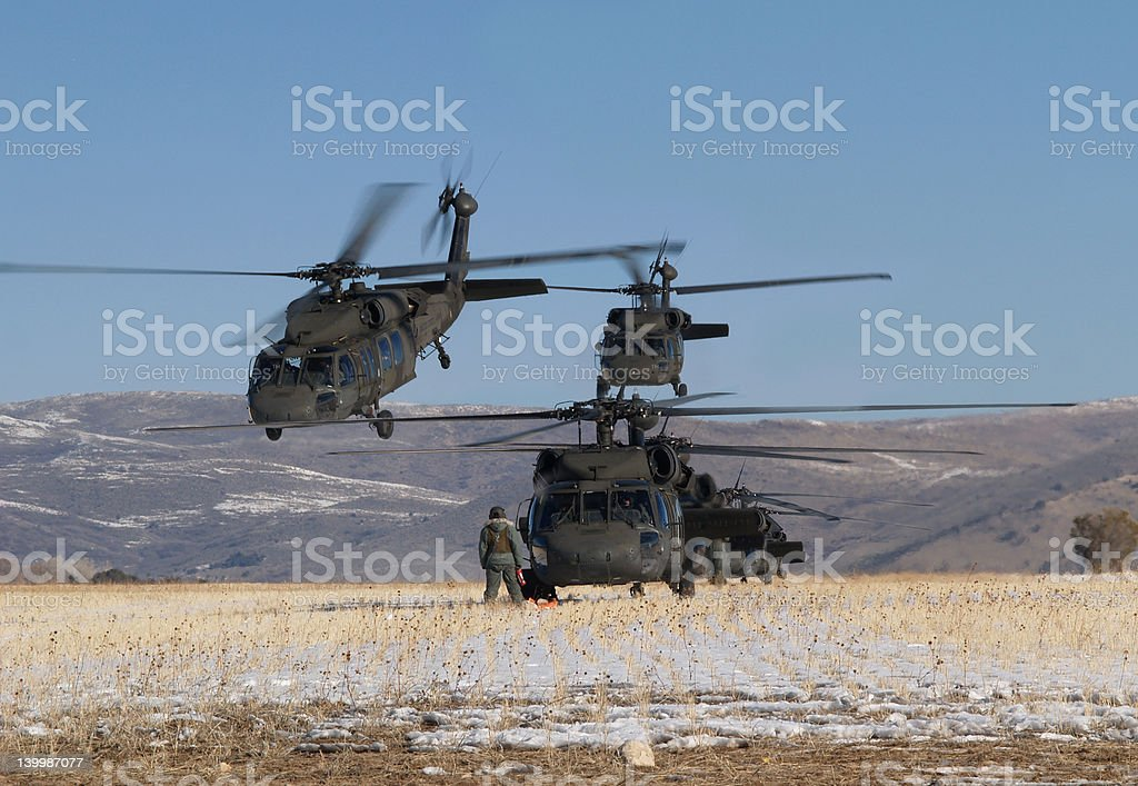Multiple helicopters stock photo
