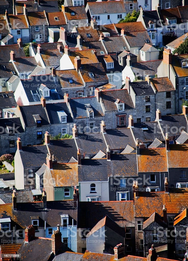 Multiple houses roofs top view royalty-free stock photo