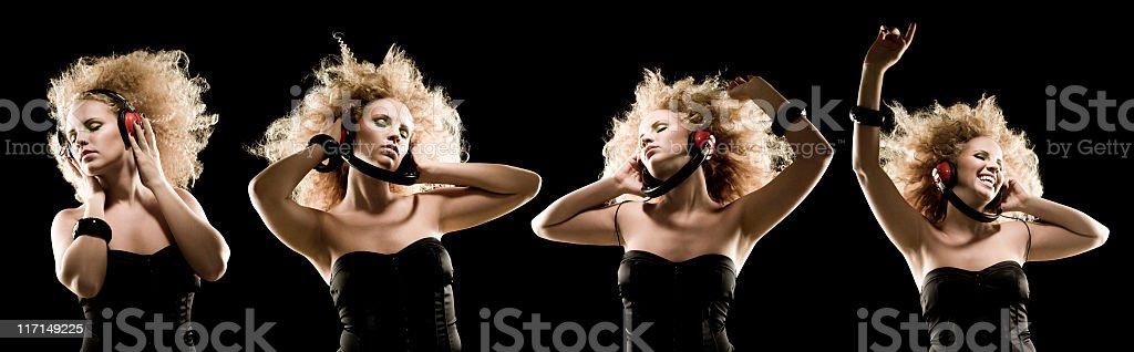 Multiple image composite of woman dancing wearing headphones on black royalty-free stock photo