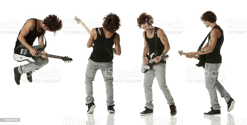 Multiple image of a guitarist royalty-free stock photo
