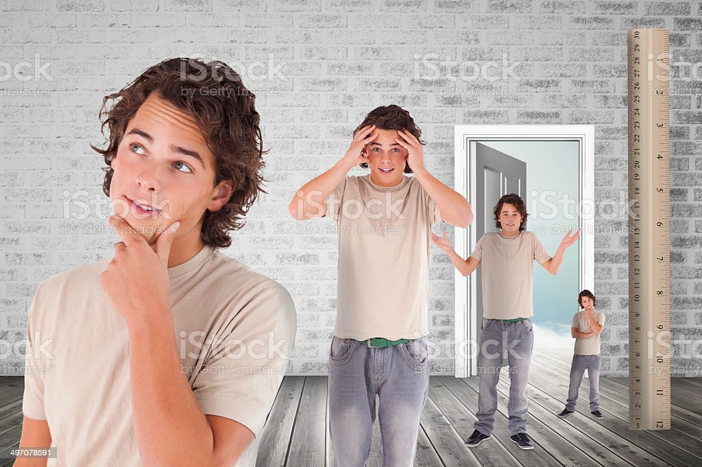 Multiple image of confused man and ruler royalty-free stock photo