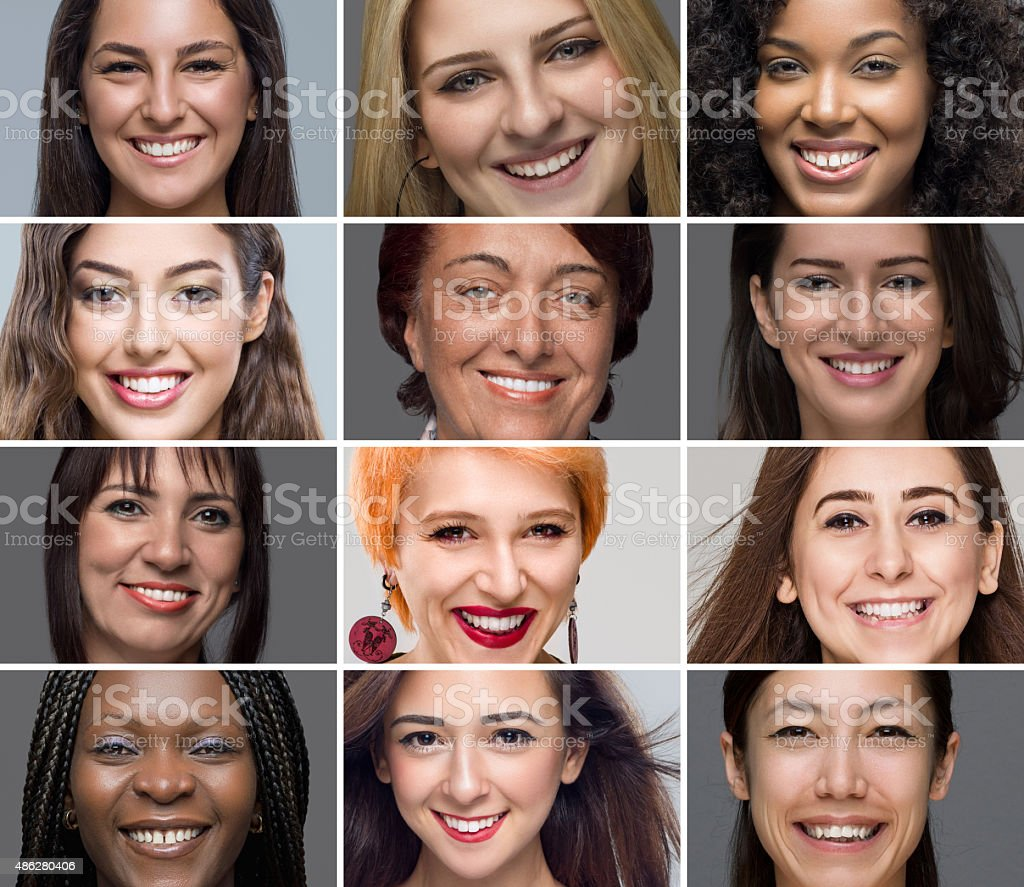 Multiple image of different women portraits stock photo