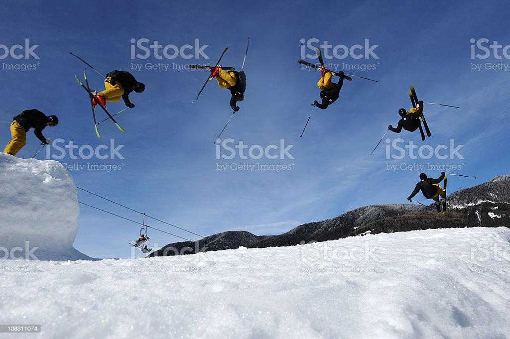 Multiple image of free style skier stock photo
