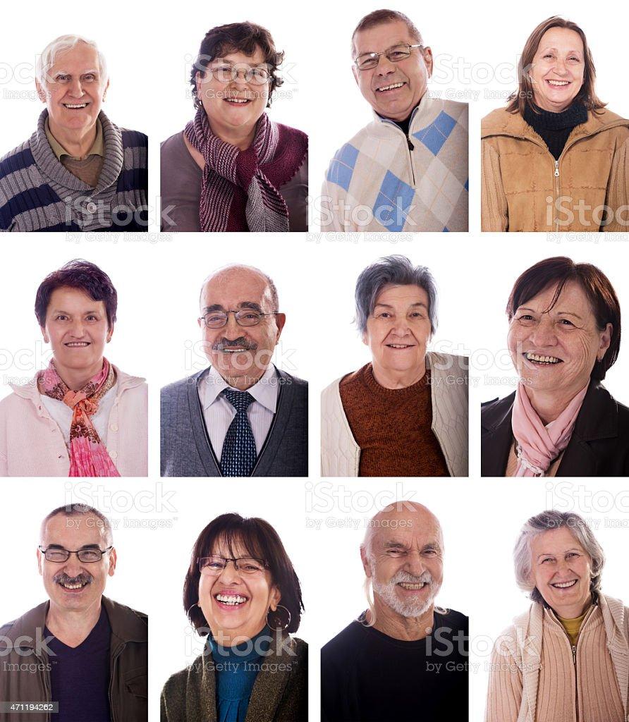 Multiple image of large group of seniors expressing positivity. stock photo