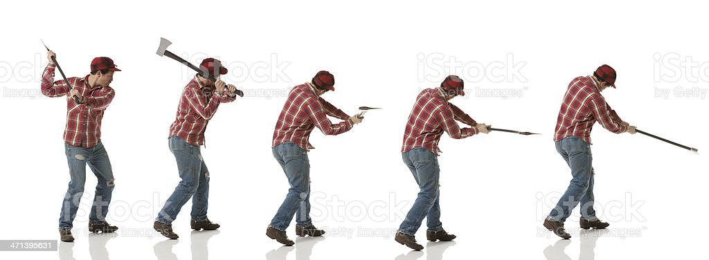 Multiple images of a lumberjack in action stock photo