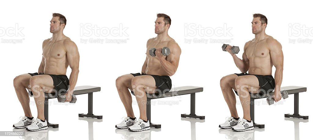 Multiple images of a man exercising with dumbbells royalty-free stock photo