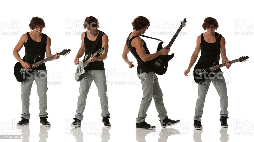 Multiple images of a man playing guitar royalty-free stock photo