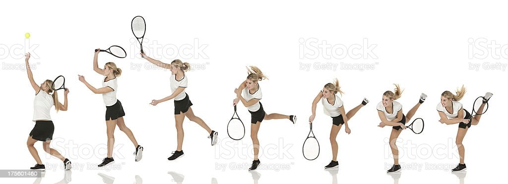 Multiple images of a tennis player in action royalty-free stock photo
