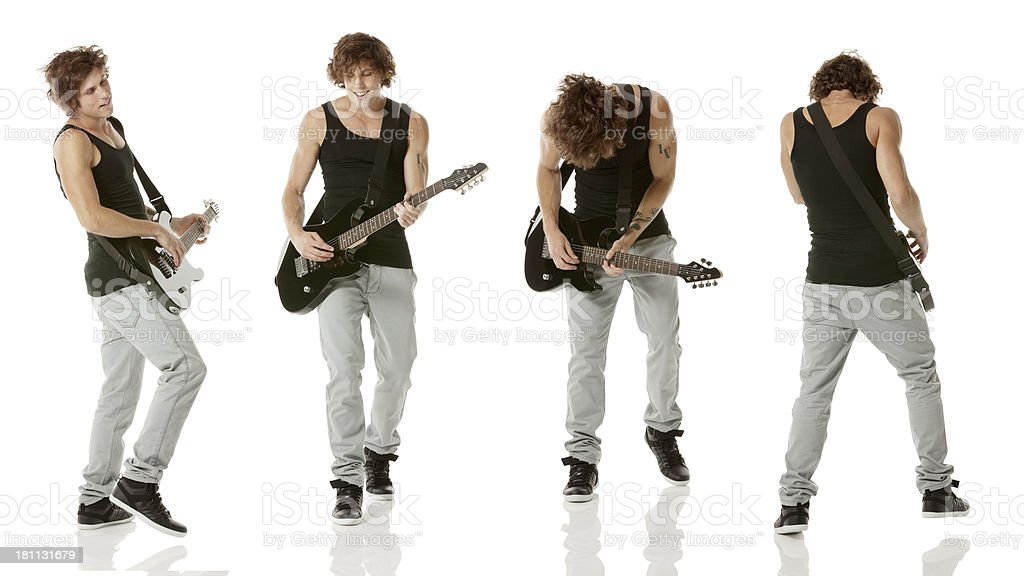 Multiple images of a young man playing guitar royalty-free stock photo