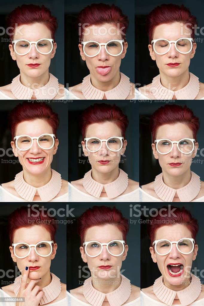multiple images of redhaired woman stock photo