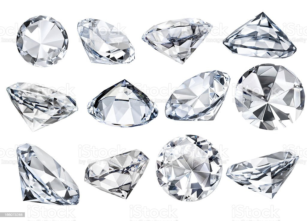 Multiple Isolated White Faceted Diamonds at Various Angles Clipping Path stock photo