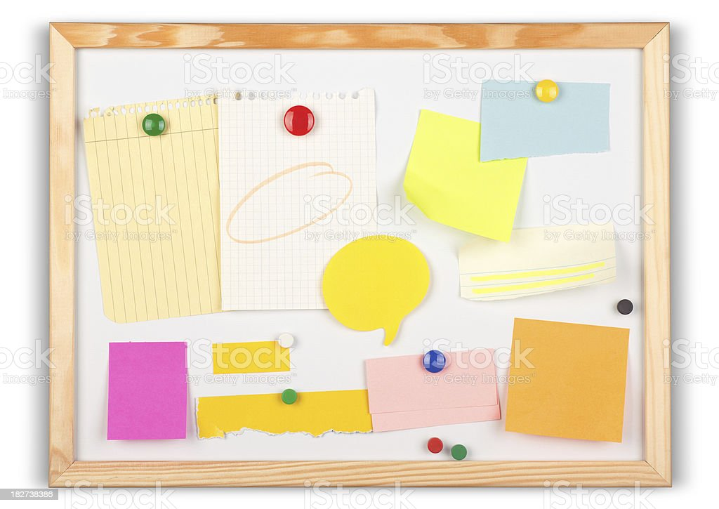 Multiple Items on a Message Board stock photo