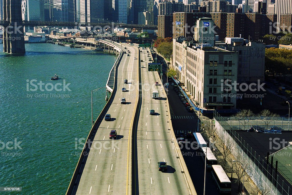 Multiple lane elevated highway in Lower Manhattan New York City stock photo