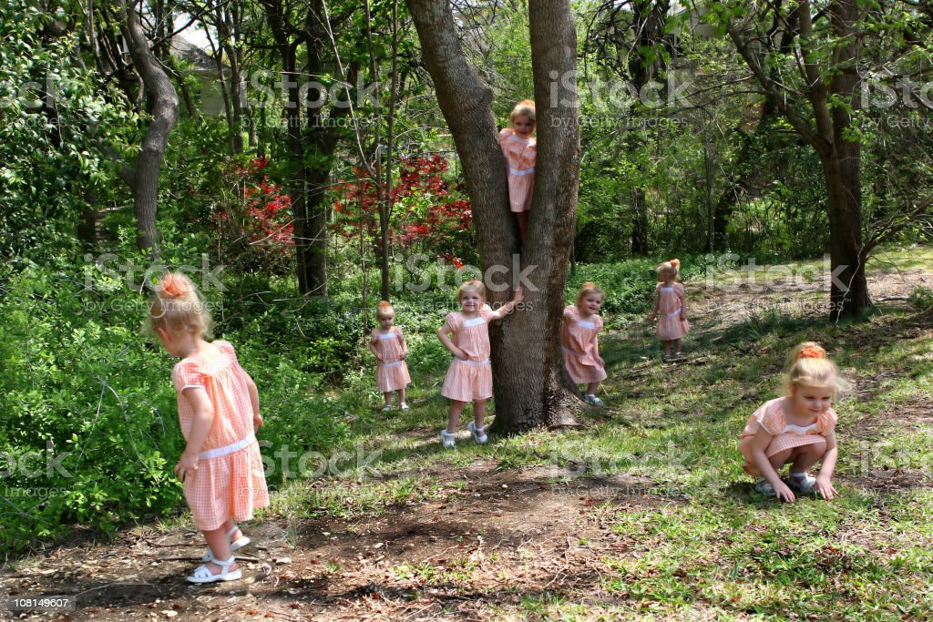Multiple Little Girls Playing Outside royalty-free stock photo