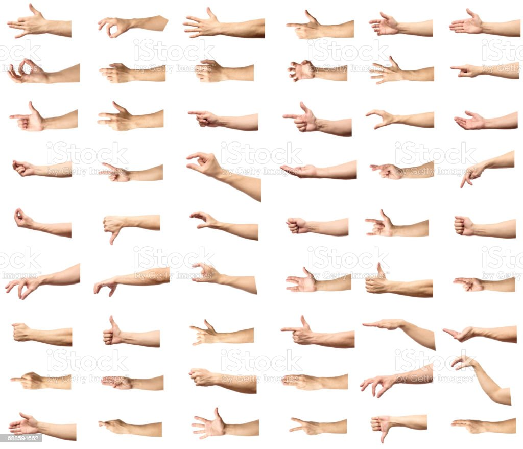 Multiple male caucasian hand gestures isolated over the white background, set of multiple images stock photo
