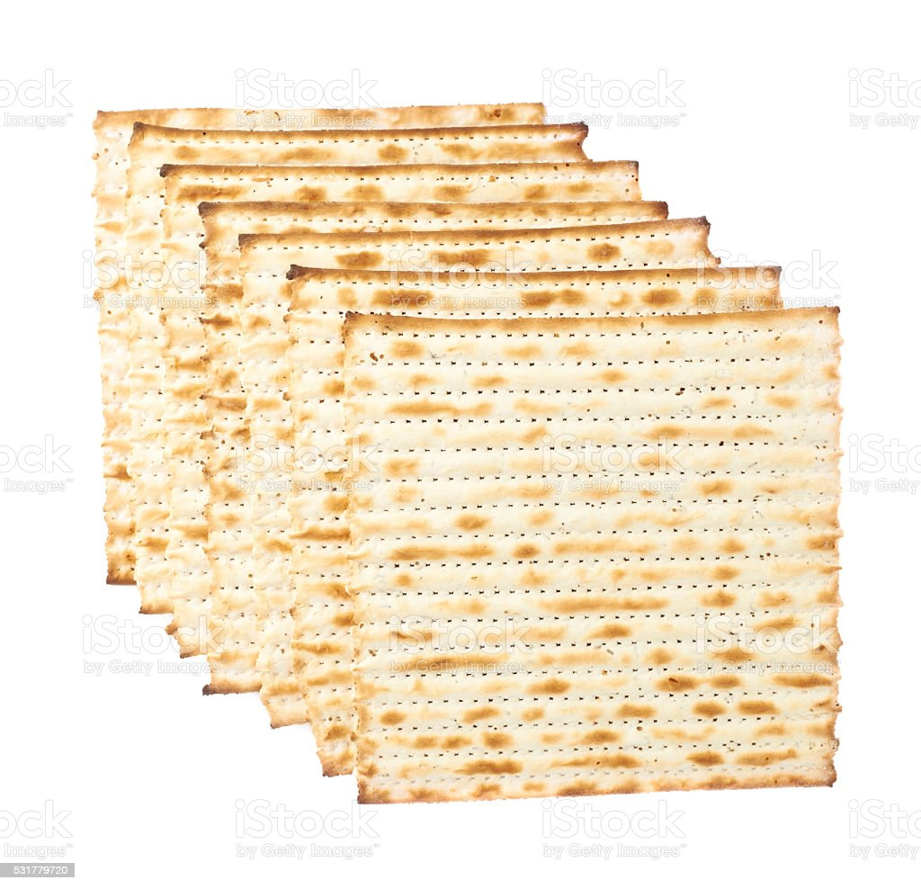 Multiple matza flatbreads lying one over another stock photo