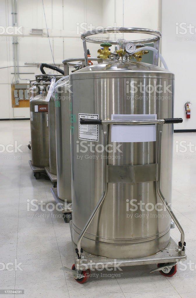 Multiple nitrogen tanks inside an industrial building royalty-free stock photo