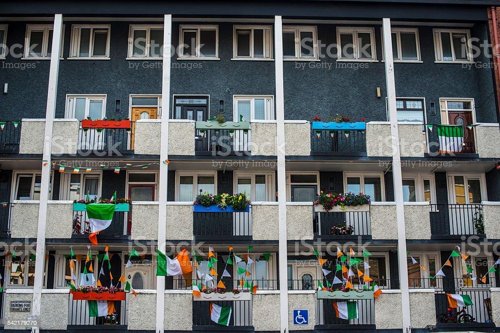 Multiple occupancy block of flats stock photo