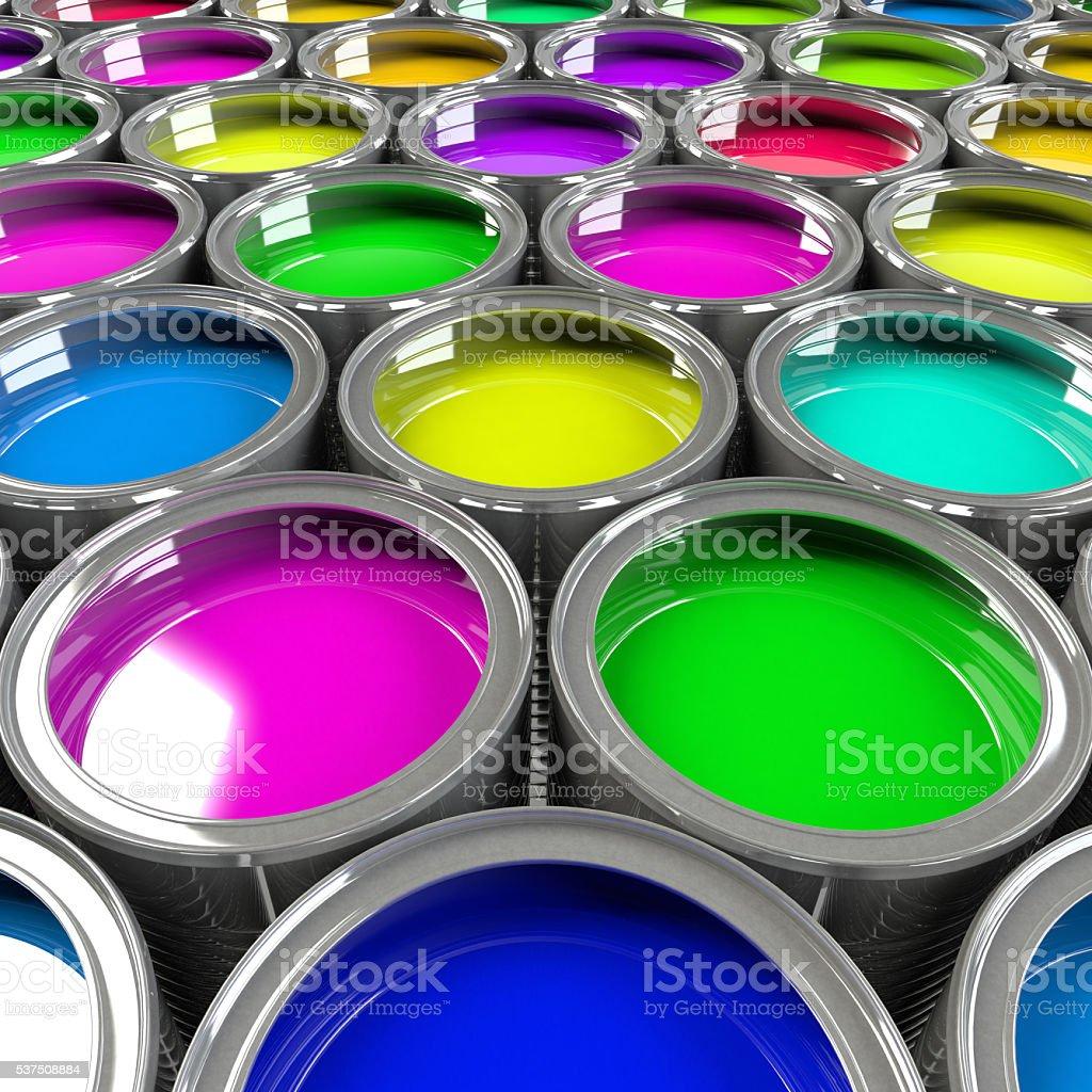 Multiple open paint cans. stock photo