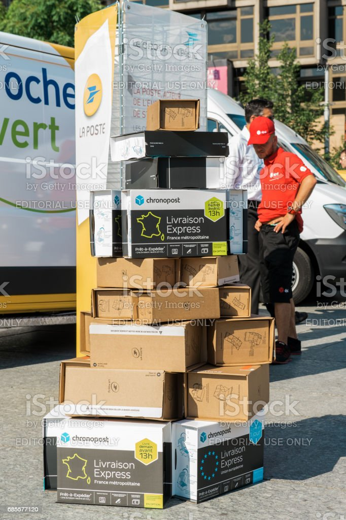Multiple Parcel delivery box one above another stock photo