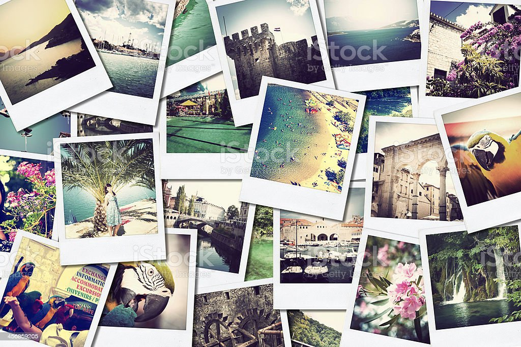 Multiple photographs of vacation scenes stock photo
