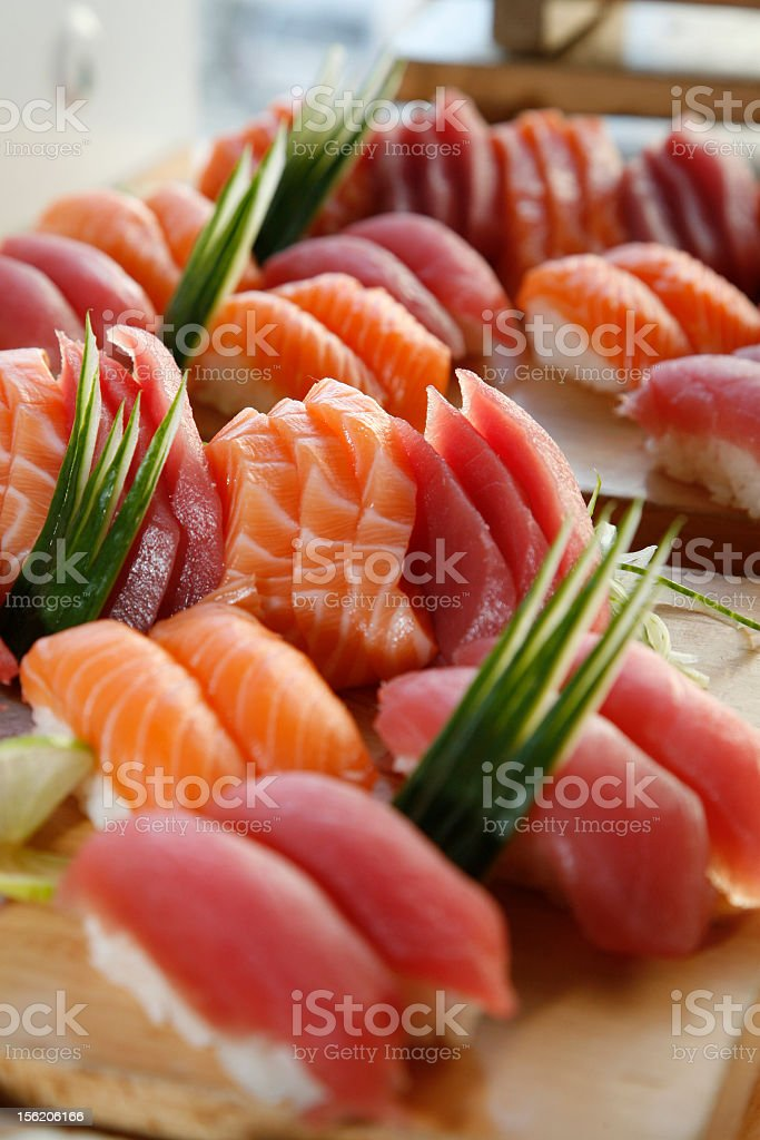 Multiple pieces of sushi spread out royalty-free stock photo