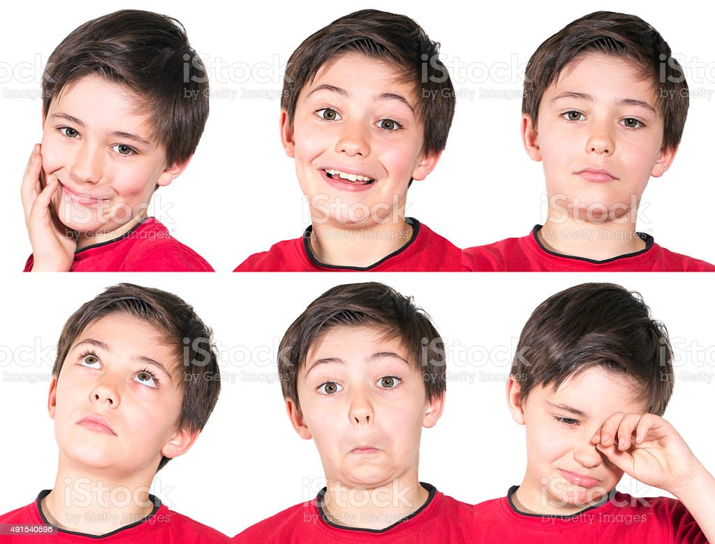 multiple portraits of young boy stock photo