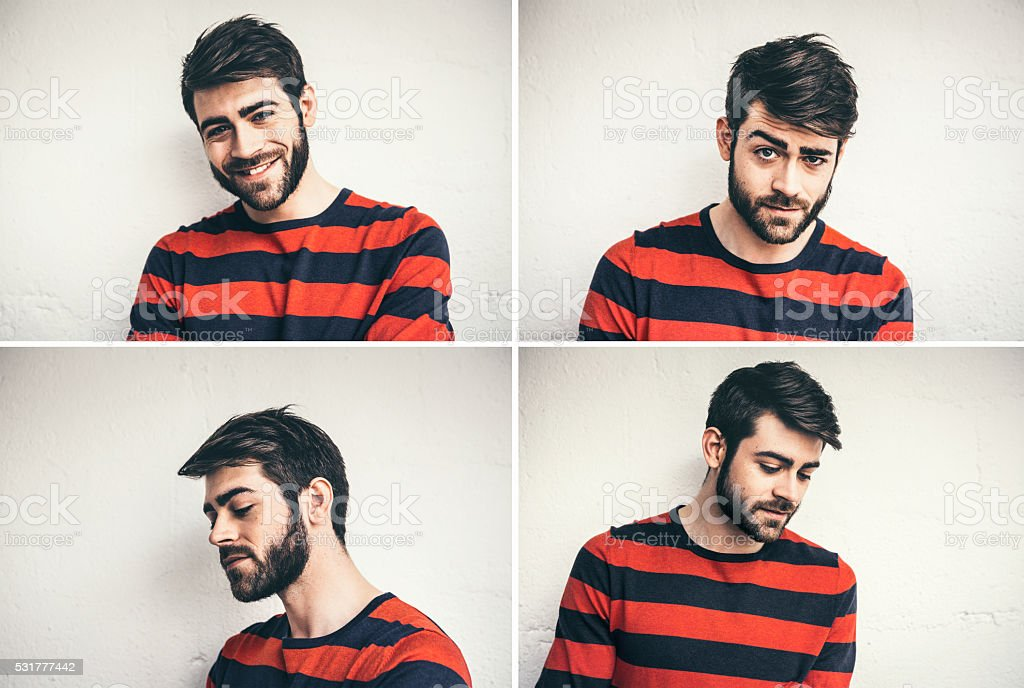 Multiple Portraits Of Young Man From France stock photo