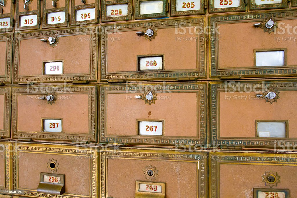 Multiple Post Office Boxes stock photo