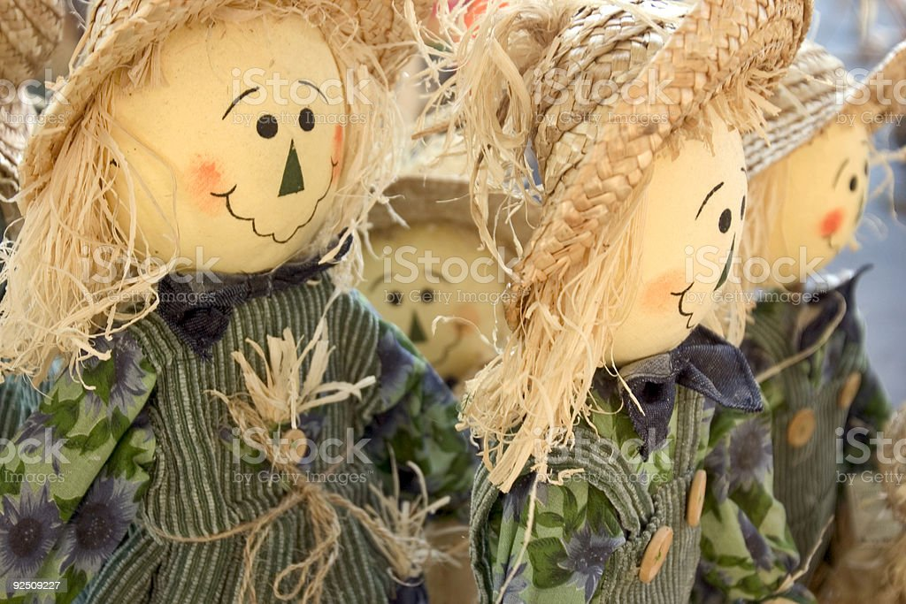 Multiple scarecrows stock photo