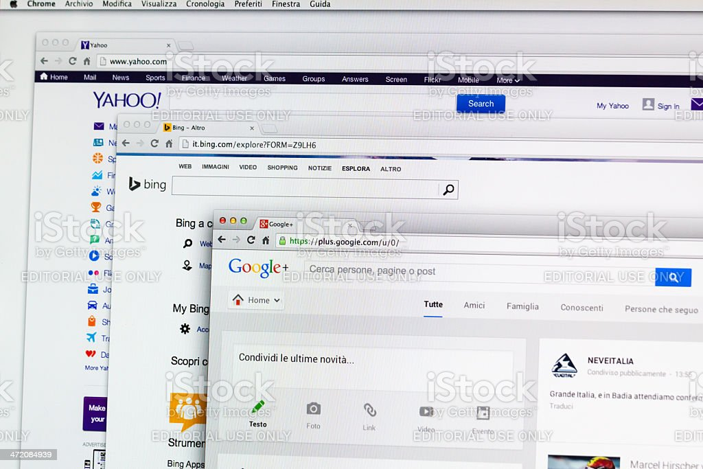 Multiple Search Engine Web Page stock photo