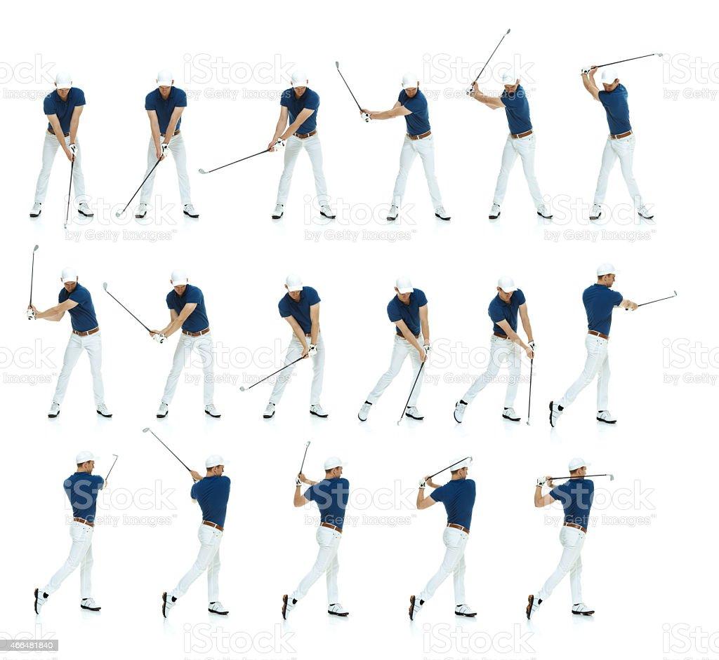 Multiple shots of a golfer's swing stock photo