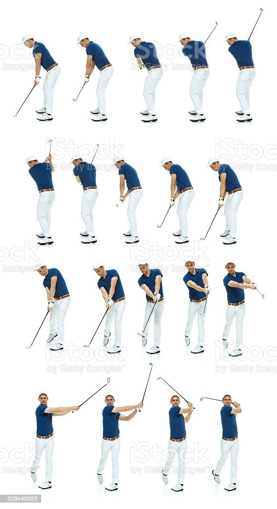 Multiple shots of a golfer's swing stock photo