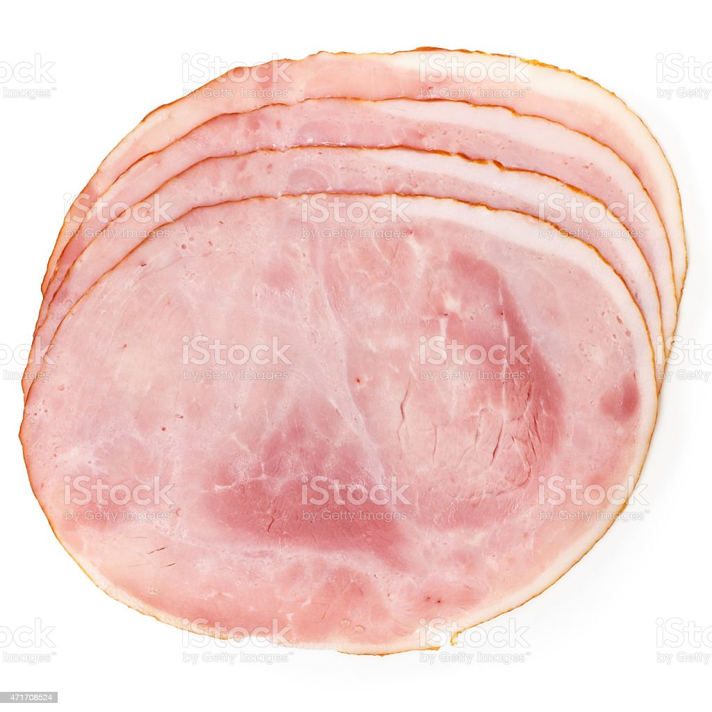 Multiple slices of premium ham laid out on white background stock photo