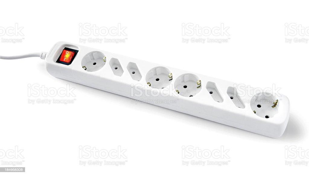 Multiple Socket Outlet on white stock photo