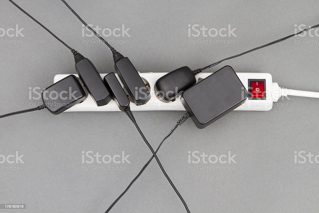 multiple socket with power supplies stock photo