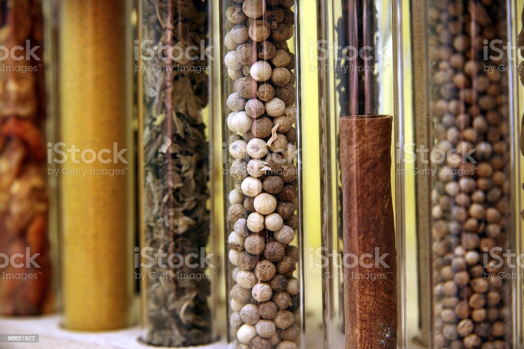 Multiple spices in chemistry tubes stock photo