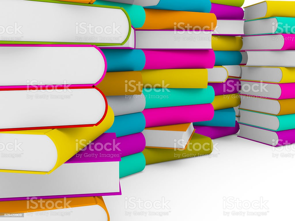 multiple stack of colorful books stock photo