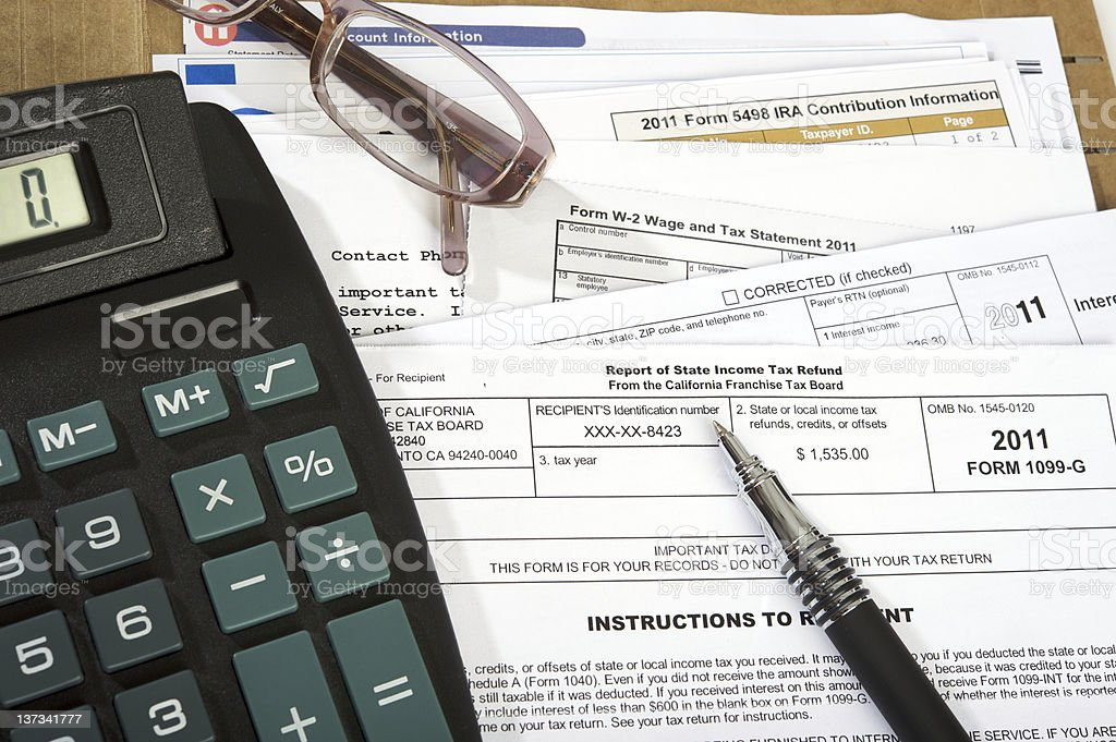 Multiple taxes forms stock photo