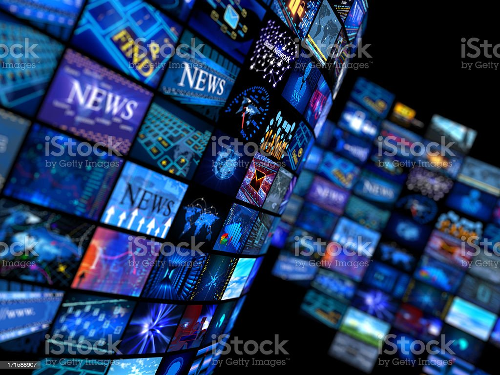 Multiple television screens in blue tones stock photo
