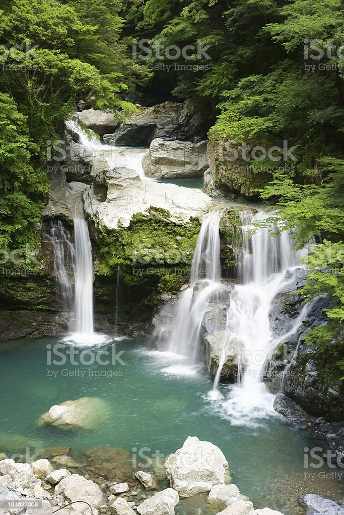 Multiple waterfalls in the forest stock photo