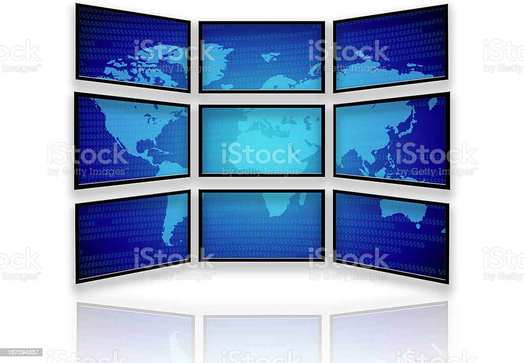 Multiple Wide screen Monitors and the World royalty-free stock photo