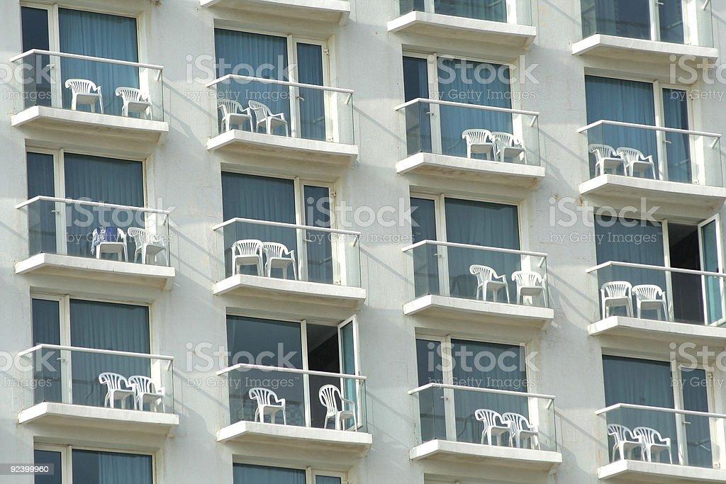 multiple window pattern on hotel royalty-free stock photo