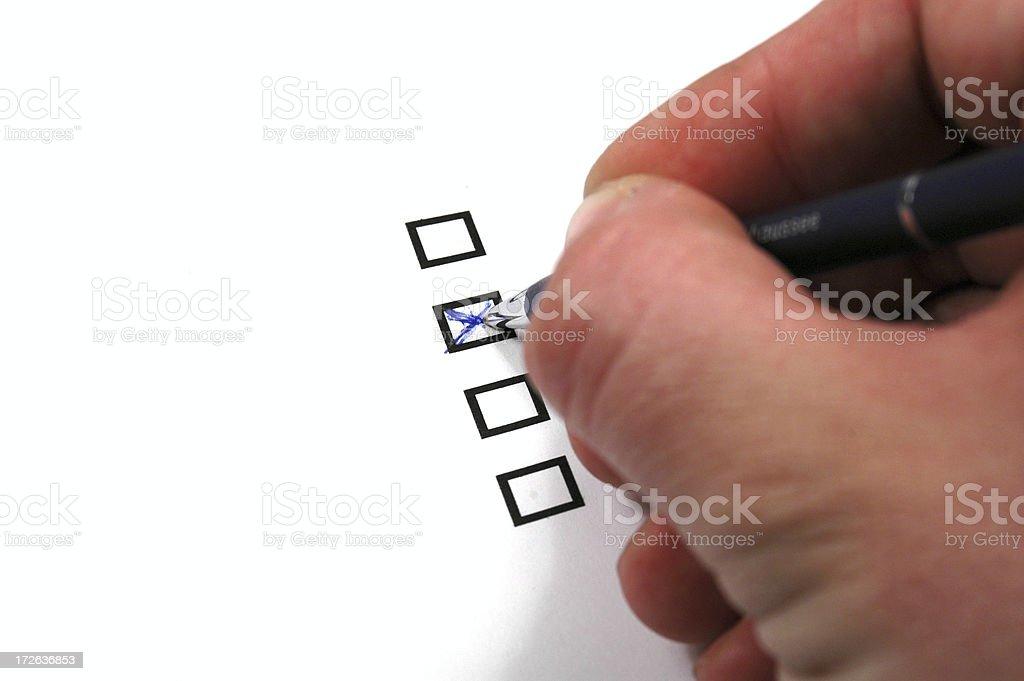 Multiple-choice answer stock photo