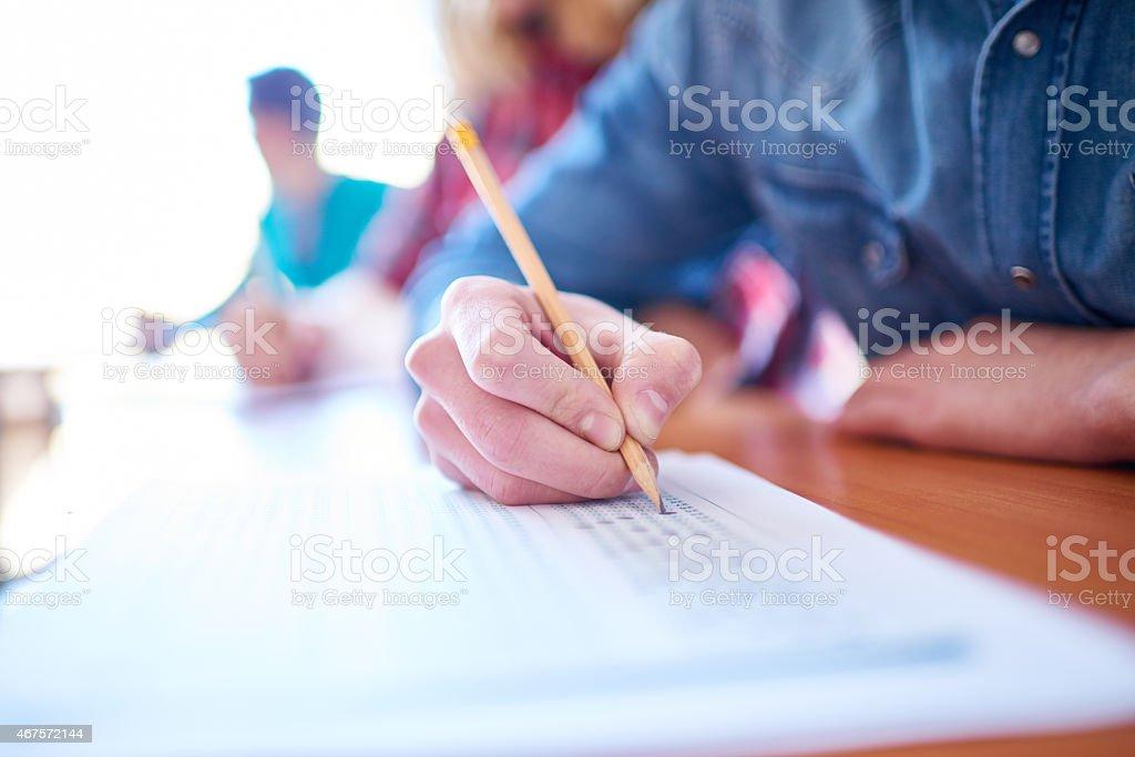Multiple-choice exam stock photo